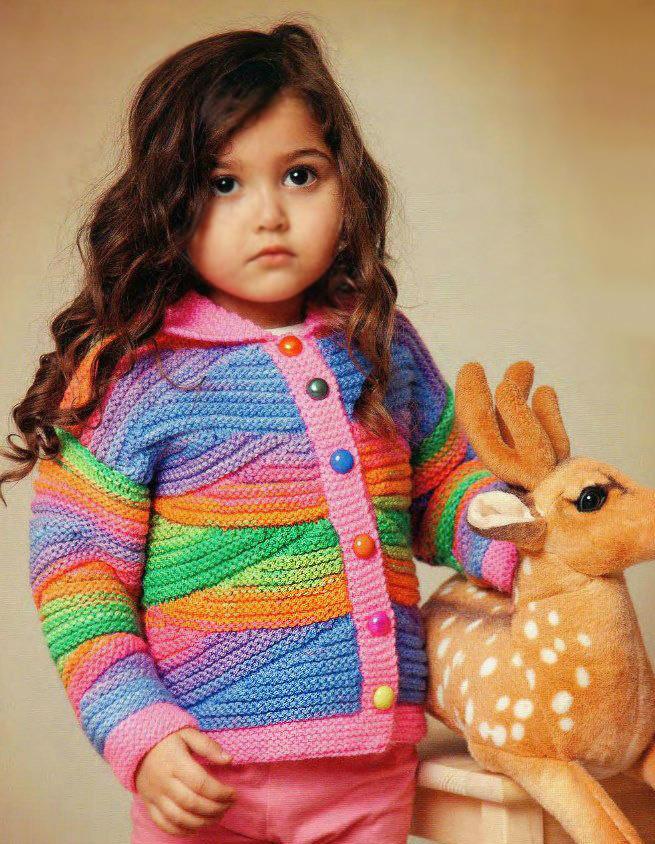 Многоцветное вязание спицами для детей