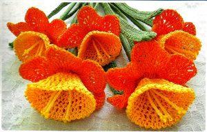 Цветы нарциссы вязаные крючком (Вязаные цветы)