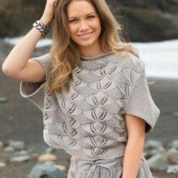 Пуловер с надвязанными рукавами (Вязание спицами)