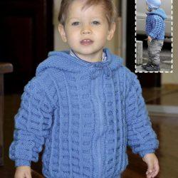 Жакет с капюшоном для мальчика 3 лет (Вязание спицами)