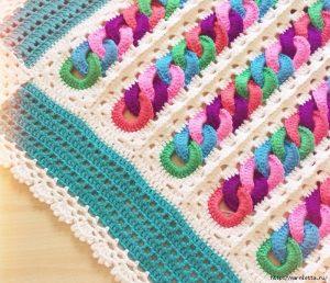 Детский плед крючком с узором из разноцветных колечек (Вязание для дома)