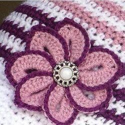 Вязаный крючком цветок с пуговицей (Вязаные цветы)