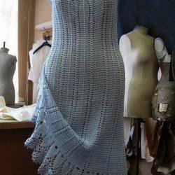 Платье крючком с круглой кокеткой+ схемы (Вязание крючком)
