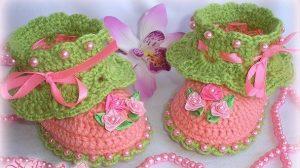 Пинетки для маленькой принцессы (Вязание крючком)