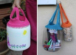 Сумочки для мелочей из пластиковых бутылок (Вязание крючком)
