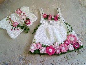 Очаровательное  платье «Весна» для девочки 1 года (Вязание крючком)