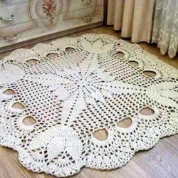 Квадратные коврики связанные крючком по кругу (Вязание для дома)