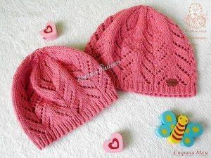 Детская шапка «Весенний ажур» на 1-3 года (Вязание спицами)