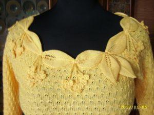Летний пуловер спицами «Кокетка» (Вязание спицами)