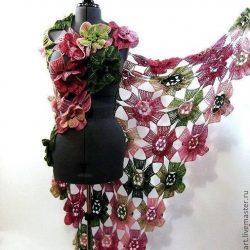 Шикарная шаль «Цветы» (Вязание крючком)