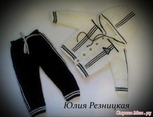 Спортивный костюм «Адидас»с выкройкой на 1-2 года (Вязание спицами)