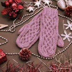 Как связать интересные и теплые варежки на зиму (Вязание спицами)