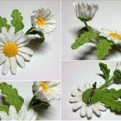 Ромашки вязанные крючком (Вязаные цветы)