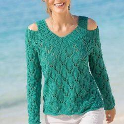 Пуловер с открытыми плечами (Вязание спицами)