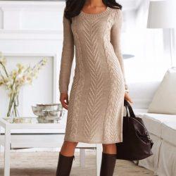 Платье спицами роскошным узором. Схема, выкройка (Вязание спицами)