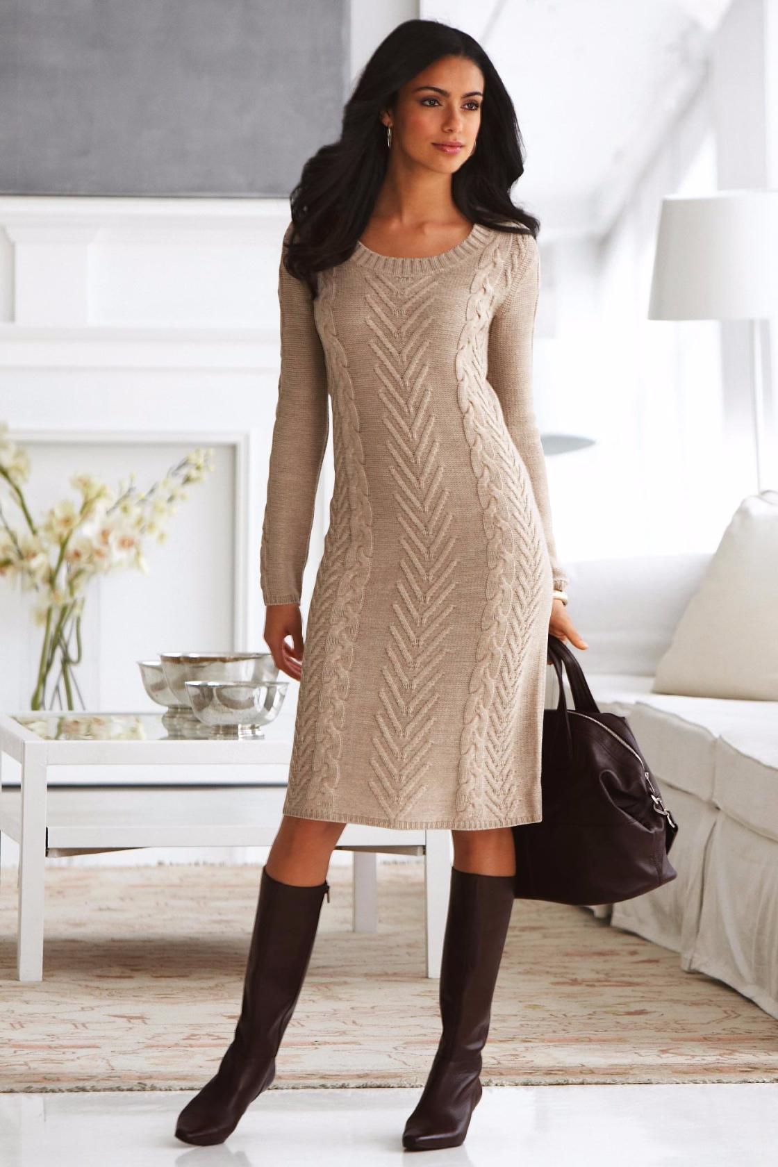 Платье спицами роскошным узором. Схема, выкройка (Вязание ...