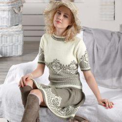 Костюм жаккардовым узором. Пуловер и юбка (Вязание спицами)