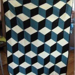 Плед Иллюзия  — получаются как-будто объемные кубики (Вязание крючком)