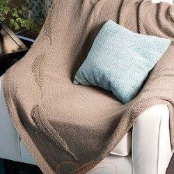 Плед с пером спицами (Вязание для дома)