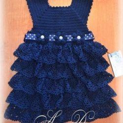 Нарядное платье для маленькой модницы (Вязание крючком)