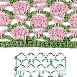 Красивые двухцветные узоры (Вязание крючком)