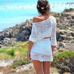 Замечательная пляжная туника (Вязание спицами)