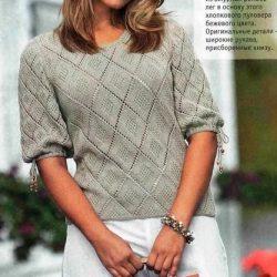 Пуловер  с ромбами. Схемы, описание вязания (Вязание спицами)