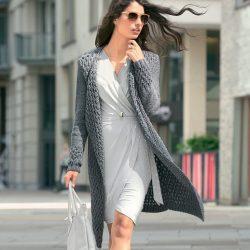 Пальто с рельефным узором (Вязание спицами)