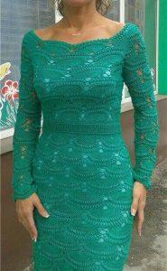 Роскошное платье из ажурных вееров крючком (Вязание крючком)