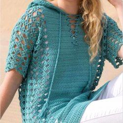 Ажурный пуловер крючком с капюшоном. Схема узора (Вязание крючком)