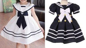Выкройка платья в морском стиле для девочки, размеры от  1 год — до 14 лет (Шитье и крой)