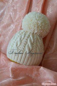Двойная шапочка с помпоном (Вязание спицами)