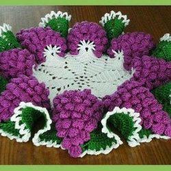 Салфетка виноградная гроздь (Вязание крючком)