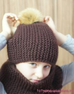Вязаная шапка-бини и снуд (Вязание спицами)