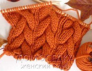 Узор с косами для шарфа или снуда спицами (УЗОРЫ СПИЦАМИ)