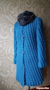 Модное пальто. Схема узора (Вязание крючком)
