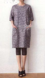 Выкройка-шаблон платья-туники с цельнокроеными рукавами и застежкой на спинке (Шитье и крой)