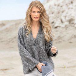 Объемный пуловер (Вязание спицами)