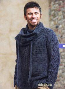 Мужской пуловер и шарф (Вязание спицами)