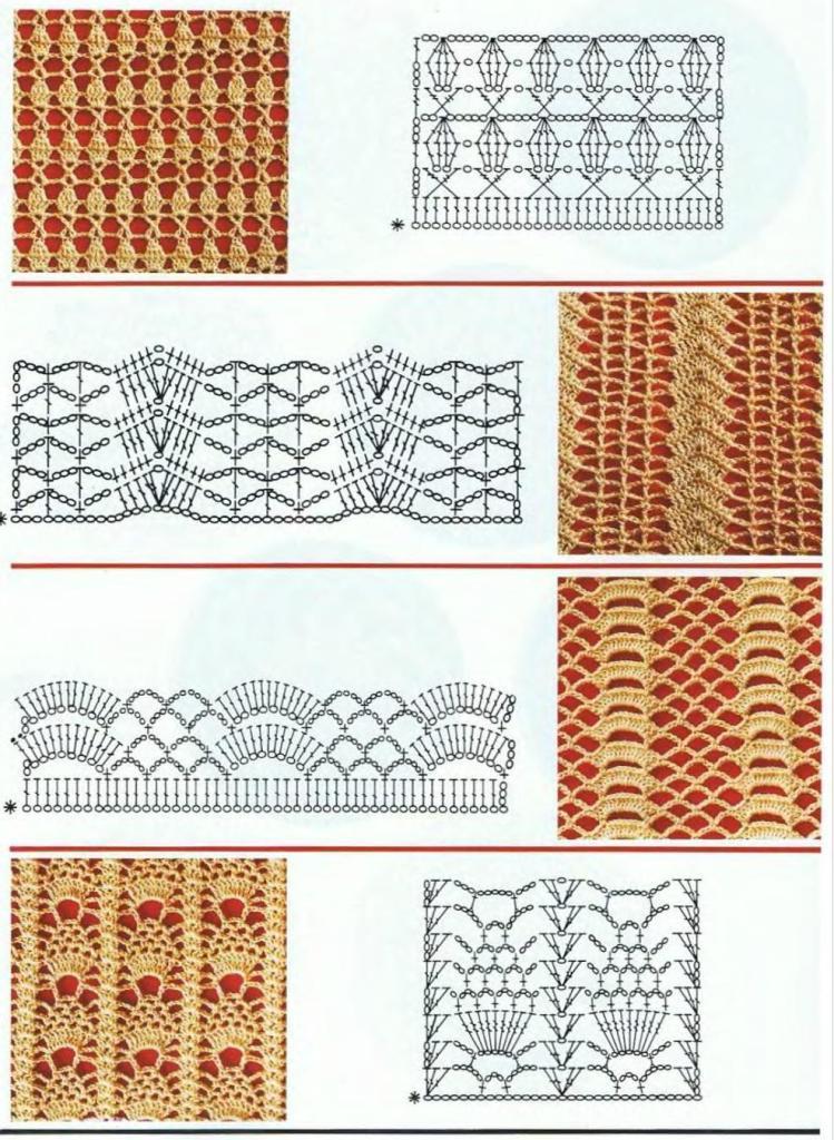 Описание и схемы узоров крючком