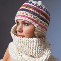 Вязаная шапка-шарф (Вязание спицами)