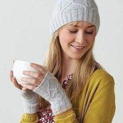 Вязаные шапка и митенки (Вязание спицами)