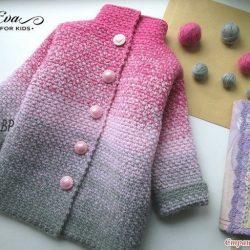 Пальто и кардиган для девочек. Градиент крючком (Вязание крючком)