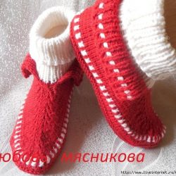 Тапочки-мокасины спицами от Любови Мясниковой (Вязание спицами)