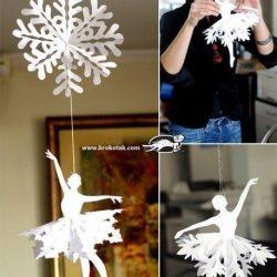 Снежинки-балеринки для украшения интерьера. Шаблоны (Поделки с детьми)