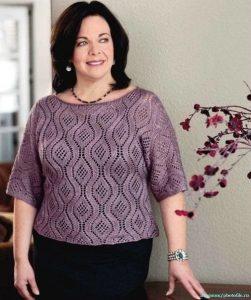 Пуловер спицами с очень красивым рисунком (Вязание спицами)
