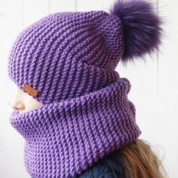 Шапка — бини и снуд платочной вязкой (Вязание спицами)