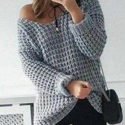 Крупный узор для вязания пуловера (УЗОРЫ СПИЦАМИ)