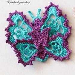 Объемная бабочка (Вязание крючком)