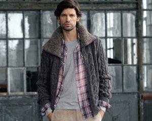 Вязаная мужская куртка с «меховым» воротником (Вязание спицами)